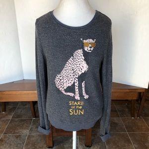 Wildfox cheetah stare at the sun sweater